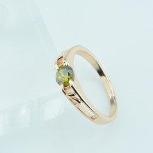 UNNA 5MM Smart Beauty Women Bride 585 Gold Color Olive Green Stone Rings Jewelry 6 7 8 Gift