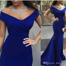Royal Blue Mermaid Evening Prom Gowns Backless Formal Party Dinner Dress 2016 Off Shoulder Arabic Dubai Plus Size Wear ED28