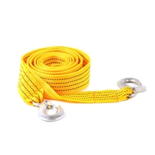 Useful Car Yellow Thicker Nylon Tow Rope Hook 3m 9 Ft 3 Tons Traction Truck Pulling Ropes Towed Band Travel Emergency Support(China)