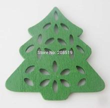 WBNGOG christmas tree Green buttons 50pcs/lot DIY decorative wood button scrapbook and craft