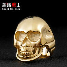 Steel soldier mix color mix size 316L Stanless Steel Fashion Jewelry Men's Punk Smooth Black/Gold Skull Rings Man(China)