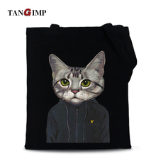 TANGIMP 2017 Cool Cat Canvas Cotton Tote Beach Laptop Bags Carry-all School Eco Women Girl Shopping Zipper Shoulder Handbags