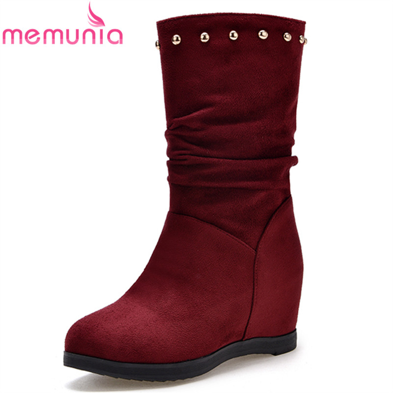 MEMUNIA autumn winter new arrive women boots black wine red height increasing pleated ankle boots round toe ladies boots<br>