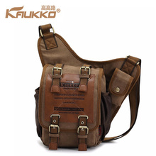 KAUKKO Men Canvas Leather Crossbody Bag Male Military Army Vintage Messenger Bags Large Rucksacks Vintage College SchoolBags(China)