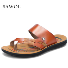Buy Sawol Men Sandals Genuine Split Leather Men Beach Sandals Brand Men Casual Shoes Flip Flops Men Slippers Sneakers Summer Shoes for $16.32 in AliExpress store