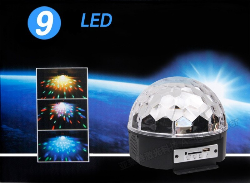 9 Colors MP3 Crystal Magic Ball Led Stage Lamp KTV Disco Laser Light Party Lights Sound Control Laser Projector Music KTV 9LED<br><br>Aliexpress