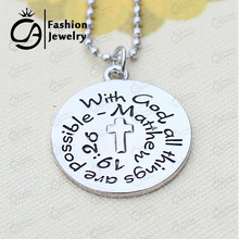 Wholesale With god all things are possible Matthew 19:26 Silver Plated Pendant Necklace Religious Catechism Gift #LN1233(China)