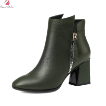Original Intention Stylish Women Ankle Boots Round Toe Square Heels Boots Elegant Black Army Green Shoes Woman US Size 3-10.5(China)