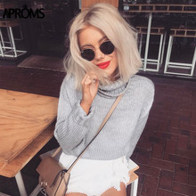 Aproms Crochet Knitted High Neck Pullovers Sweaters Women Autumn Fall Long Sleeve Gray Knit Pull Jumper High Fashion Outerwear(China)