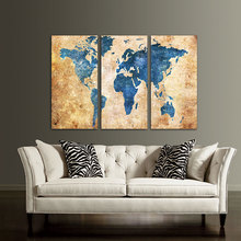 3 Panel Vintage World Map Canvas Painting Oil Painting Print On Canvas Home Decor Wall Art Wall Picture For Living Room Unframed(China)