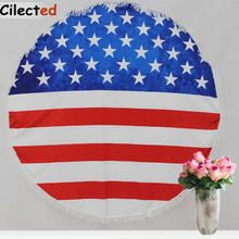 Cilected Round American Flag Beach Towel With Tassels For Adults Large USA Flag Printed Circle Sun Bath Towel Yoga Mat Tapestry