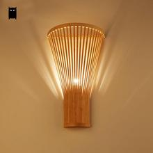 Bamboo Wicker Rattan Fan Lampshade Wall Lamp Fixture Asian Rustic Style Sconce Lamp Bedroom Hallway Stair Balcony Corridor Aisle(China)
