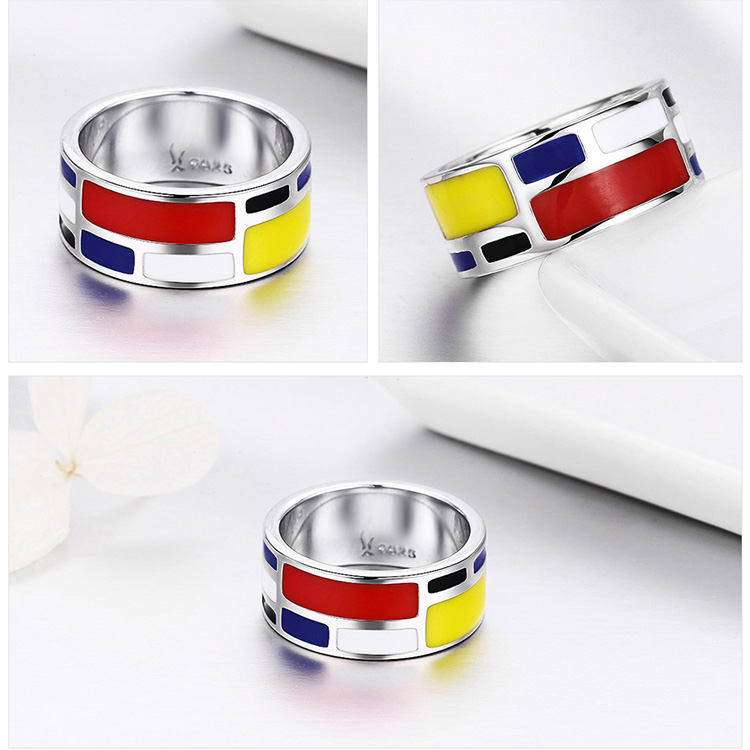BAMOER Authentic 100% 925 Sterling Silver Colorful Enamel Geometric Square Finger Rings for Women Sterling Silver Jewelry SCR251