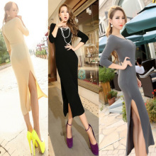 2015 fashion sexy screw thread long-sleeve one-piece dress female full dress European and American fashion elastic knitted dress(China (Mainland))