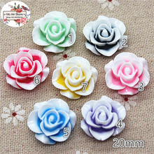 50pcs 20mm Mixed Color flower rose resin flatback cabochon DIY jewelry phone decoration No Hole(China)
