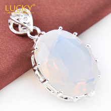 Free Shipping -  925 Silver Jewelry Classic Moonstone Gems Pendant For Women Fashion Shiny Crystal Pendant Wholesale P0094