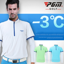 PGM Men's Golf Clothes Summer Shirt Designer Sungreen Outdoor Golf Tennis Tshirt with Long Ice Cuff Sportwear Clothing Quick Dry