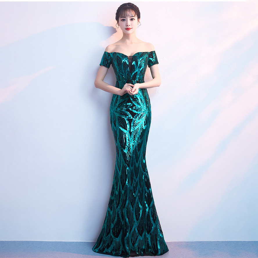 Do Dower Green Sequin Mermaid Evening Dress Noble Sexy Boat Neck Short Sleeve Host Party Dinner Long Evening Dress Robe Soiree L