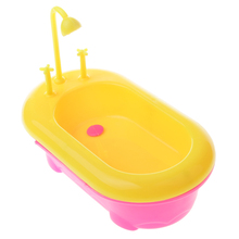 Dollhouse Miniature Mini Plastic Dolls Bathtub Bathroom Accessory Furniture Kids Pretend Toy Clasic Toy Best Gift for Child Kids(China)