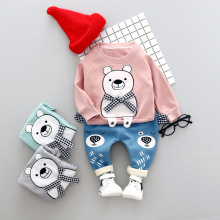 Unique Panda Winter Baby Boys Girls Sport Suit T-shirt+ Pants 2PCS Set Toddler Kids Tracksuit Set Baby Clothes Set 0-1-2-3T(China)
