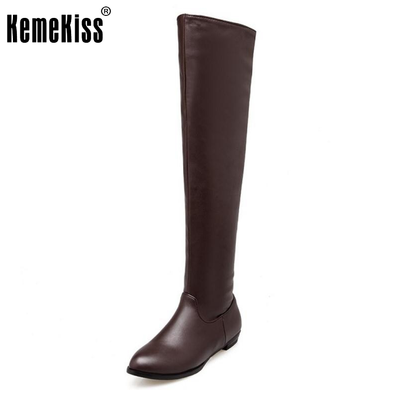 Woman Classic Flat Boot Women Winter Boots Fashion Over Knee Long Botas Flat Sole Stretch Fabric Shoes Footwear Size 34-45<br>