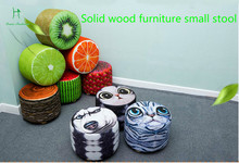 Louis Fashion Domestic stools Solid wood originality Living room to change shoes stool Watermelon fruit stool(China)