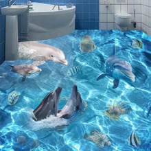 Custom Floor Wallpaper 3D Ocean World Dolphins Sharks Mural Living Room Bathroom Vinyl Self-adhesive Waterproof Floor Wallpaper(China)