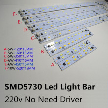 5pc/lot AC220v High Brightness LED Light Bar Strip Driverless for T5 T8 Tube 5w 6w 10w 180-260v SMD 5730 led pcb Light(China)