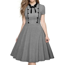 Buy Autumn Womens Elegant Vintage Lattice Bow Tunic Pinup One Piece Dress Suit Wear Work Office Casual Party Line Skater Dress for $20.81 in AliExpress store