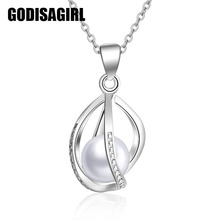 New ladies silver plated Love Wish Simulated Pearl Divine Droplet Pendant (not match chain)