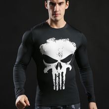 2017 Fashion New Men Marvel Superhero Punisher T Shirt Jersey Men Fitness T-shirt Compression Shirt Tights Gyms Tops & Tees