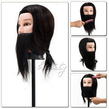 100% Real Human Hair Beard Hairdressing Training Man Head Mannequin Doll High Temperature Fiber Salon Model With Clamp(China)
