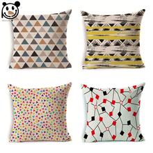 PEIYUAN Manufacturers Customized Cushion Cover Wholesale High Quality Pillow Case Colorful Stripes Geometric Shapes Pillow Cover(China)