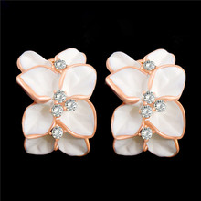 Atreus Wholesale 1Pair Latest Gold Color Sparkling Flower Shape Design Crystal Women Lady's Hoop Earrings