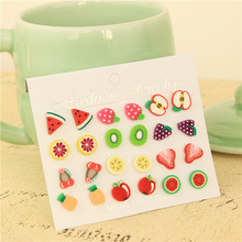 Sale 12 Pairs/Set Girl Charming Fashion Fruit Shape Ear Stud Colorful Earrings Jewelry Gift