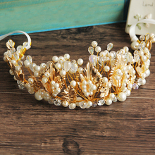 Handmade New Women Crown Crystal Beads Golden Leaf Tiara Pearl Jewelry Hair Ornaments Hairband Gifts Wedding Accessories Factory