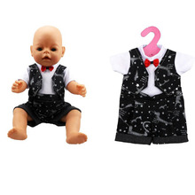 Wholesale Factory Discount Clothes For Baby Born Zapf Doll Handsome Doll Bow Tie Clothes Children Best Birthday Christmas Gift(China)