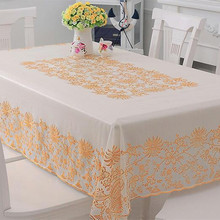 Cheap Customize Transparent Plastic Sheeting Printed Tablecloths With Gold Color Easy Wash Table Cover Decoraions Home Table New