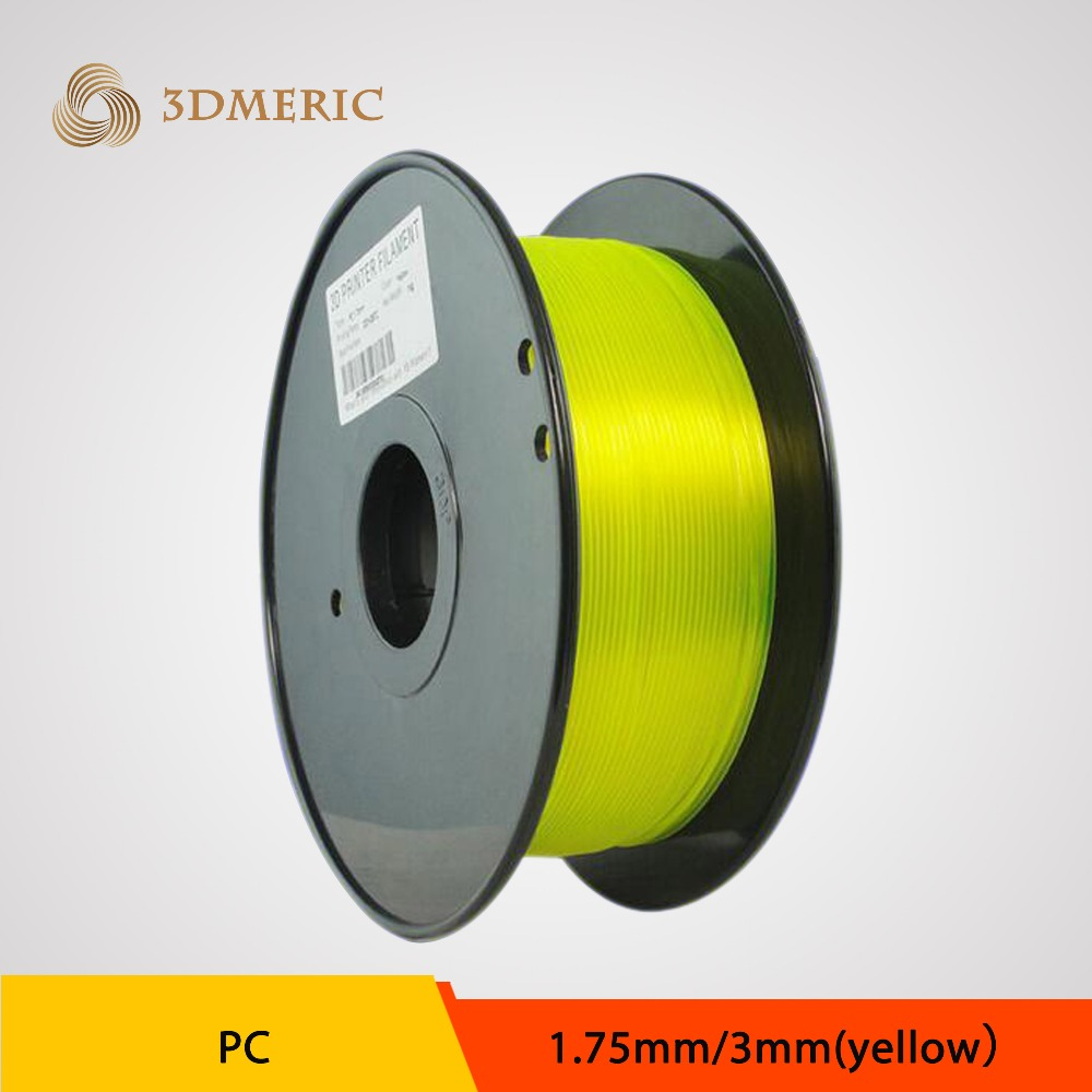 Yellow 3D Printer Filament For MakerBot RepRap UP Mendel 1.75mm 3mm 1KG PC Polycarbonate 3DPrinter Filament Consumables Material<br>