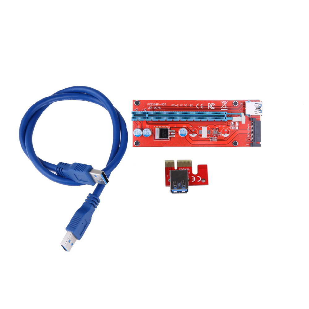 ALLOYSEED 007S Riser Card PCI-E 1X 16X Extender PCI Express Adapter USB 3.0 Cable /15Pin SATA Power Supply mining riser