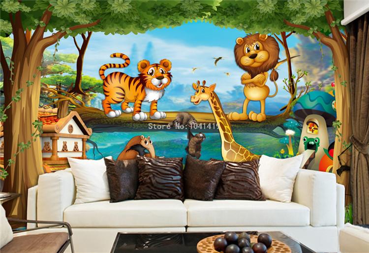 HTB1SapMRFXXXXXCapXXq6xXFXXXx - 3D Wall Murals Beautiful Cartoon Forest Animal World Photo Wallpaper For Children Room Papier Peint Enfant Eco-Friendly Frescoes