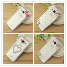 New 3D White Flower Bling Crystal Diamond Transparent Cell Phone Shell Back Cover Hard Case For Samsung Galaxy Xcover 3 G388F