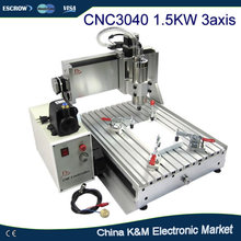 Hot Sell CNC 3040 Z-VFD 1.5KW water cooled spindle engraving machine wood pcb carving drilling router(China)
