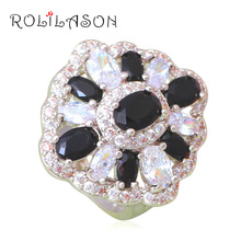 Mysterious Black Onyx Rings for Prom Silver Stamped AAA Zirconia Fashion Jewelry Rings USA Size #6#7#8#9#10 JR2120