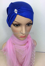 H831 new style cotton jersey muslim tube hat with rhinestones,fast delivery