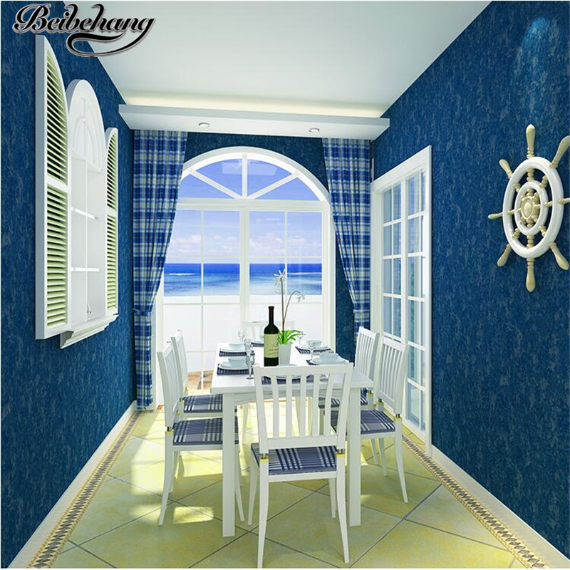 beibehang Mediterranean wallpaper blue retro pure color nonwovens environmental bedside background living room bedroom wallpaper<br>