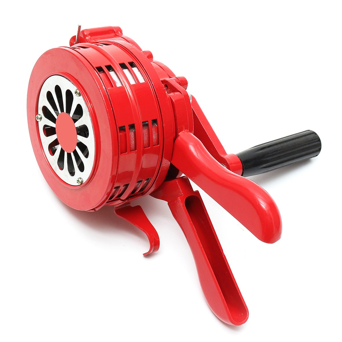 NEW 4.5 Red Aluminium Alloy Handheld Manual Operated Security Alarm Air Raid Siren Portable Safety<br>