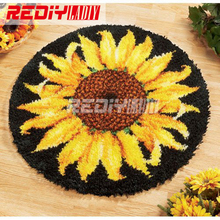 Hot! Latch Hook Rug Kits DIY Needlework Unfinished Crocheting Rug Yarn Cushion Mat Embroidery Carpet Rug Sunflowers Home Decor
