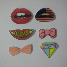 1pc USA Flag Lips Badges 3D Acrylic Bowknot Diamond Pin On Brooch Fashion Pins Badge Cheapest Free Shipping XF126