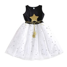 Girls Dress Star Sequin Mesh Dresses Kids Clothes Cotton Children's Clothing Christmas Dress Party Costume A